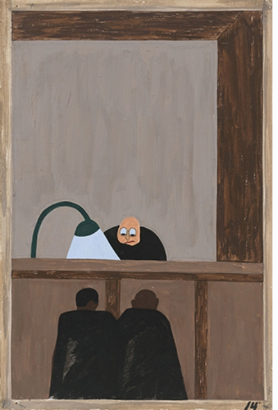 """Jacob Lawrence: The Migration Series, Panel 14 (""""injustice in the courts""""), 1941"""