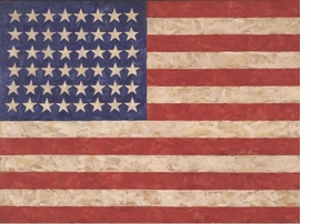 Jasper Johns, 'Flag', 1958. Encaustic on canvas Wildenstein Plattner Institute. Reproduced from <i>Jasper Johns</i> (Royal Academy of Arts, 2017).