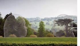 """Nuria"" (2007) and ""Irma"" (2010), installed at Yorkshire Sculpture Park, West Bretton, UK (2011)."