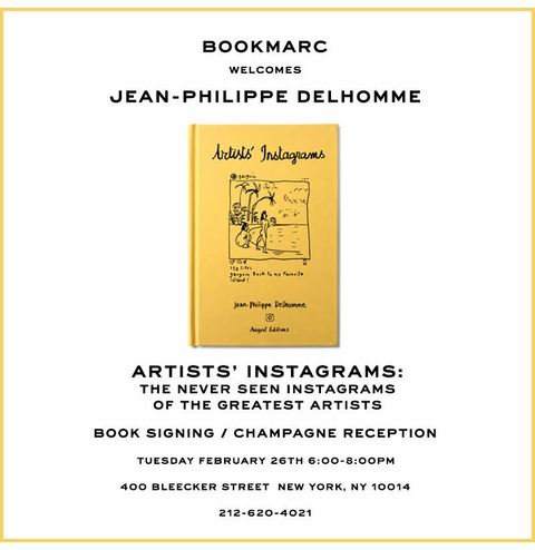 Jean-Philippe Delhomme to launch 'Artists' Instagrams' at Bookmarc NYC