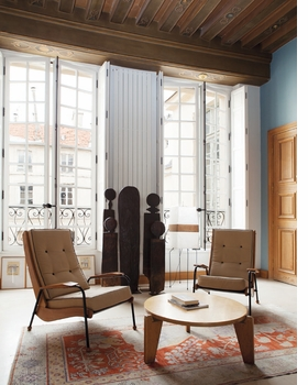 Visiteur Métropole FV 12 armchairs and Guéridon bas, photographed in a private collection, are reproduced from 'Jean Prouvé.'