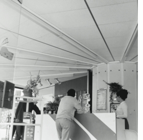 Total filling station, view of the interior of the shop, locality unknown, ca. 1970.