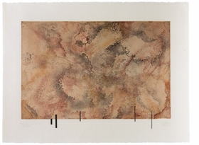 """""""For this image, Cage created twelve plates, and in each print all twelve's were printed one on top of the other, each plate in a unique mixed colour. All the colours related to those found in smoke, and the plates were etched using smoke as an acid resist. The title derives from the saying, 'Where there is smoke, there is fire.' Cage completed the initial image in 1987, and in 1989, during his next work period at Crown Point, he asked to change the already-printed prints, which he said looks too much like wallpaper….In the changed version, Cage has added a chance-selected scattering of black rectangles (he called them 'buildings') along the lower plate edge of each impression. Each print has a different configuration of rectangles. The new titles became <i>Where There is Where There - Urban Landscape</i>.""""<p>Kathan Brown, excerpted from <a href=""""9781853322839.html"""">Every Day is a Good Day: The Visual Art of John Cage</a>, from which this image is reproduced."""
