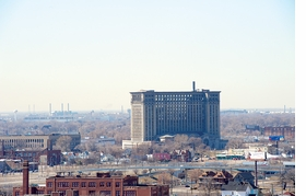 Featured image, of Michigan Central Railroad Station, known as Roosevelt Park, built 1913, is reproduced from 'Julia Reyes Taubman: Detroit.'