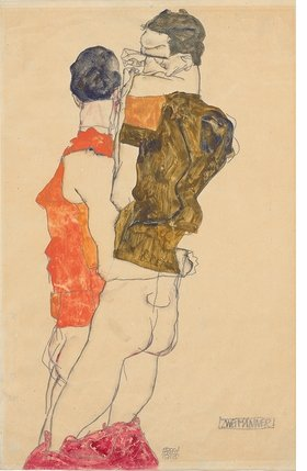 "Egon Schiele, ""Two Men,"" 1913. Pencil with opaque color, 18.9 x 12.4"" ©  The Albertina Museum, Vienna. Exhibition organized by the Royal Academy of Arts, London and the Albertina Museum, Vienna. From ""Klimt / Schiele: Drawings."""