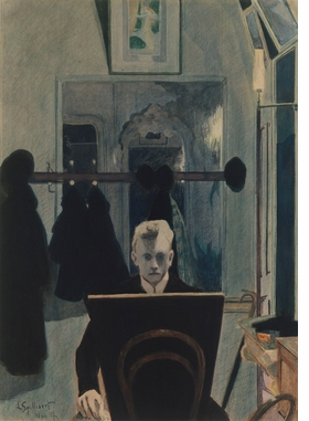 """""""Self-portrait (with Drawing Board)"""" (1907). Indian ink wash, brush, colored pencil and watercolor on paper, 52.7 × 37.8 cm. Metropolitan Museum of Art, New York. Gift of William S. Lieberman, in honor of A. Hyatt Mayor, 1980."""