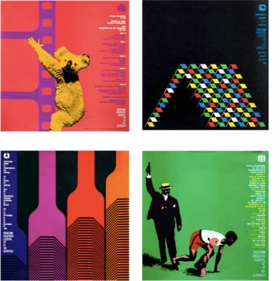 """""""Mexico '68"""" posters for the Cultural Olympics are reproduced from <I>Lance Wyman: México</I>."""