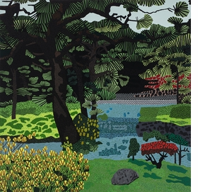 """Featured image is Jonas Wood, """"Japanese Garden"""" (2017), courtesy of the artist and David Kordansky Gallery."""