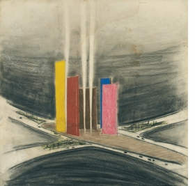 """Featured image is: Luis Barragán, """"Torres de Satélite (1957), Ciudad Satélite, Naucalpan de Juárez, outskirts of Mexico City, State of México, Perspective view of the towers."""" Undated. Color chalk on cardboard. 28.3 x 28.7 """". Barragán Archives, Barragan Foundation, Switzerland © 2014 Barragan Foundation, Switzerland / Artists Rights Society (ARS), New York."""