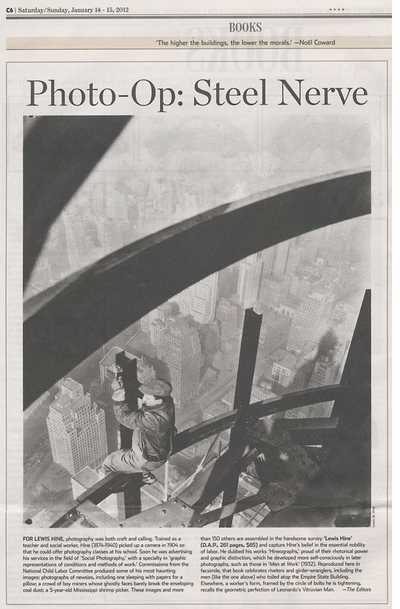 Lewis Hine Reviewed in the Wall Street Journal