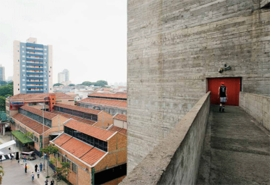 Concrete bridge with view of the halls of the SESC, 2014, São Paulo, is reproduced from <I>Lina Bo Bardi: 100</I>.