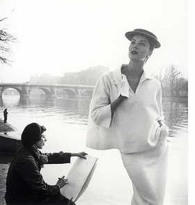 Photo above: Suzy Parker by the Seine, costume by Balenciaga, Paris, 1953. Reproduced from <I>Louise Dahl-Wolfe</I>