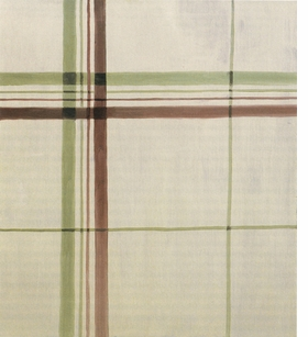 """""""Like a ragged piece of cloth hung on the wall to dry, <i>Towel</i> can be understood as a humorous riposte to the history and reception of modernist painting and art criticism. The theories of the critic Clement Greenberg, who argued for flatness and self-referentiality as modernist painting's highest aim, seem to be a particular target of Tuymans' wry parody. Towel, if it were actually woven cloth, instead of a quasi-realist oil painting, would indeed integrate line, color and surface in a single plane, serving as a kind of readymade modernist canvas. At the same time, the worn appearance of <i>Towel</i> cynically suggests that the utopian aesthetic of modernist painting such as Mondrian's, in spite of its proponents' socially radical utopian aims, has found its end in banal domestic objects, becoming entrenched in daily life as an outdated modernist-kitsch style.""""<p>Lanka Tattersall's description of Luc Tuymans' painting <i>Towel</i>, featured here and excerpted from <a href=""""http://www.artbook.com/9781933045986.html"""">Luc Tuymans</a>"""