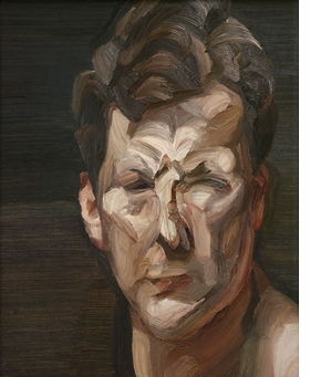 """Lucian Freud, """"Man's Head (Self-portrait III)"""", 1963. Oil on canvas, 12.25 x 9.8"""". National Portrait Gallery, London. © The Lucian Freud Archive / Bridgeman Images. Exhibition organized by the Royal Academy of Arts, London, in collaboration with the Museum of Fine Arts, Boston."""