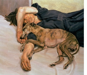 """<a href=""""catalog--art--monographs--freud--lucian.html"""">Lucian Freud</a>, whose 1985-86 """"Double Portrait"""" is featured above, died on Wednesday, July 20, at the age of 88. Considered by many the greatest figurative painter of the twentieth century, Freud, a grandson of Sigmund Freud, """"was a bohemian of the old school,"""" according to <a href="""" http://www.nytimes.com/2011/07/22/arts/lucian-freud-adept-portraiture-artist-dies-at-88.html"""" target='new'>The New York Times'</a> William Grimes. """"He set up his studios in squalid neighborhoods, developed a Byronic reputation as a rake and gambled recklessly ('Debt stimulates me,' he once said)."""" His paintings, often of """"friends and intimates, splayed nude in his studio… put the pictorial language of traditional European painting in the service of an anti-romantic, confrontational style of portraiture that stripped bare the sitter's social façade… His female subjects in particular seemed not just nude but obtrusively naked. Mr. Freud pushed this effect so far, [art critic John] Russell once noted, 'that we sometimes wonder if we have any right to be there.' By contrast, his horses and dogs, like his whippets Pluto and Eli, were evoked with tender solicitude."""" Featured image is reproduced from Hirmer Verlag's <a href=""""9783777426914.html"""">Lucian Freud: The Studio</a>."""