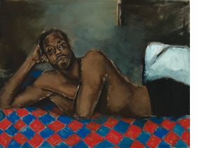"""""""Tie the Temptress to the Trojan"""" (2018) is reproduced from 'Lynette Yiadom-Boakye: Fly In League With The Night.'"""