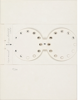"""""""The Clock in Profile,"""" 1964, is reproduced from 'Marcel Duchamp: Inventing the Presence.'"""