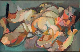 """Maria Lassnig, """"Naked (Lying) / Lying Naked (Rainer)"""", 1948/9 is reproduced from <i>Maria Lassnig: Works, Diaries, & Writings</i>."""