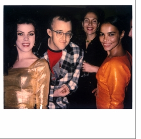 """Featured image is a Polaroid by 80's fashion diva Maripol of her friends; <i>(from left)</i> actress Debi Mazar, artist <a href=""""http://www.artbook.com/catalog--art--monographs--haring--keith.html"""">Keith Haring</a>, fashion designer Jacqueline Schnabel (first wife of Julian Schnabel), and Tereza Scharf (artist <a href=""""http://www.artbook.com/catalog--art--monographs--scharf--kenny.html"""">Kenny Scharf's</a> wife) partying in the 80's. <p>Maripol's recent monograph, <a href=""""http://www.artbook.com/9788862081368.html"""">Maripol: Little Red Riding Hood</a>, features hundreds of nearly-lost gems like this one."""