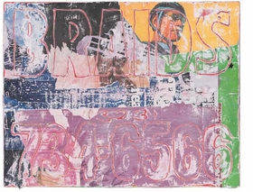 """The image featured here is a mixed media collage by Mark Bradford, <i>Untitled</i>, 2007, from his book <a href="""" 9780980024227.html """"> Merchant Posters</a>."""