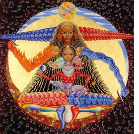 """Featured image, """"Time,"""" a 1965 oil and tempera painting by Mati Klarwein, was reproduced on the cover of Buddy Miles 1994 CD, <I>Hell and Back</I>. It is reproduced from <I>Mati & The Music: 52 Record Covers 1955-2005</I>."""