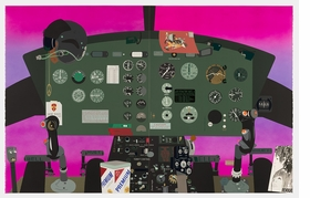 """""""Concerning Vietnam: Bell UH-iD Iroquois, Cockpit (II)"""" (2018) is reproduced from 'Matthew Brannon: Concerning Vietnam.'"""