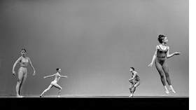 Viola Farber, Carolyn Brown, Merce Cunningham and Barbara Lloyd Dilley in 'Suite for Five' (1956), University of California, Los Angeles, July17, 1963. Photograph is reproduced from 'Merce Cunningham: Common Time.'