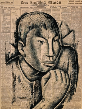 """Featured image is <i>El defensor / The Protector</i>, by Alfredo Ramos Martinez, Tempera and Conté crayon on newsprint (Los Angeles Times), c. 1932, reproduced from <a href=""""http://www.artbook.com/9783775731331.html"""">MEX/LA: Mexican Modernisms in Los Angeles 1930-1985</a>."""