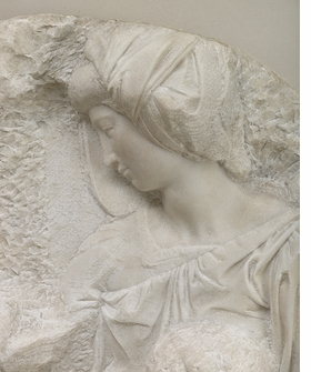 Detail, showing the face of the Virgin Mary, from 'Michelangelo Buonarroti: The Taddei Tondo.' © Royal Academy of Arts, London; Photographer: Prudence Cuming Associates Limited.