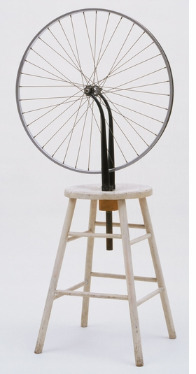 """Marcel Duchamp, """"Bicycle Wheel,"""" 1951 (third version, after lost original of 1913) © 2019 Association Marcel Duchamp/ADAGP, Paris/Artists Rights Society (ARS), New York. Digital image © The Museum of Modern Art, Department of Imaging and Visual Resources."""