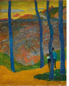"""Paul Gauguin's """"Blue Trees, 'Your Turn Will Come, My Beauty!'"""" (1888) is reproduced from <I>Monet, Gauguin, Van Gogh … Japanese Inspirations</I>."""