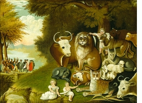 """This version of Edward Hicks's """"Peaceable Kingdom"""" (c. 1833' is reproduced from 'On Edward Hicks.'"""