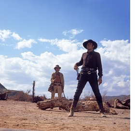 Featured image, of Leone's fourth shoot-out, the climactic duel between Harmonica (Charles Bronson) and Frank (Henry Fonda), behind the Sweetwater ranch-house, is reproduced from 'Once Upon a Time in the West: Shooting a Masterpiece.'