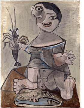 """""""Young Boy with Lobster"""" (June 21, 1941) is reproduced from 'Picasso's Kitchen.'"""