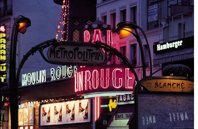 Paris Metro Photo: The Moulin Rouge By Night