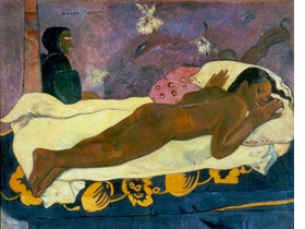 """Featured image, """"Manao tupapau (The Spirit of the Dead Watching)"""" 1892, is reproduced from <I>Paul Gauguin: Where Do we Come From? What Are We? Where Are we Going?</I>"""