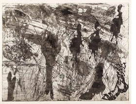 """Per Kirkeby, """"Fabric-Figures/Wind and Weather"""", 1964, is reproduced from <i>Per Kirkeby: Bronze, Drypoint, Wood</i>."""