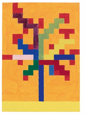 """Tree,"" (1977) is reproduced from 'Peter Halley: Boats Crosses Trees Figures 1977–78.'"