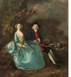 """Thomas Gainsborough, """"John Joshua Kirby and his wife"""", 1750, is reproduced from <i>Pets in Portraits</i>."""