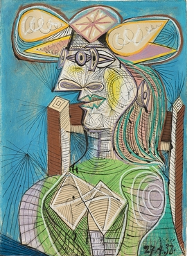 """Pablo Picasso, """"Seated Woman (Dora),"""" 1938. Ink, gouache and colored chalk on paper, 30.1 x 22 in. Fondation Beyeler, Riehen/Basel, Beyeler Collection. Photo: Peter Schibli © Succession Picasso/DACS 2019."""