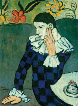 """Arlequin Assisi"" (1901) is reproduced from 'The Early Picasso.'"