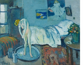 """Pablo Picasso, The Blue Room, 1901. Oil on canvas, 19.8 x 24.25"""". The Phillips Collection, Washington, DC. Acquired 1927. © Picasso Estate / SOCAN (2020)."""