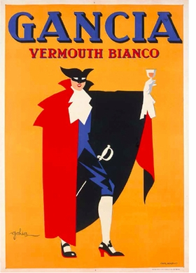 """Golia (Eugenio Colmo), """"Vermouth Bianco Gancia"""", 1936, is reproduced from <i>Posters: Eat & Drink in Italian Advertising</i>."""