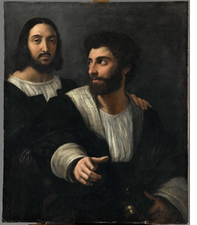 """Double Portrait (Self-portrait with a Friend)"" (c. 1518–19) is reproduced from 'Raphael: 1520–1483.'"