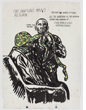 Featured image, <I>No Title (The Invisible Man's…)</I>, 2010, is reproduced from <I>Raymond Pettibon: Here's Your Irony Back.</I>