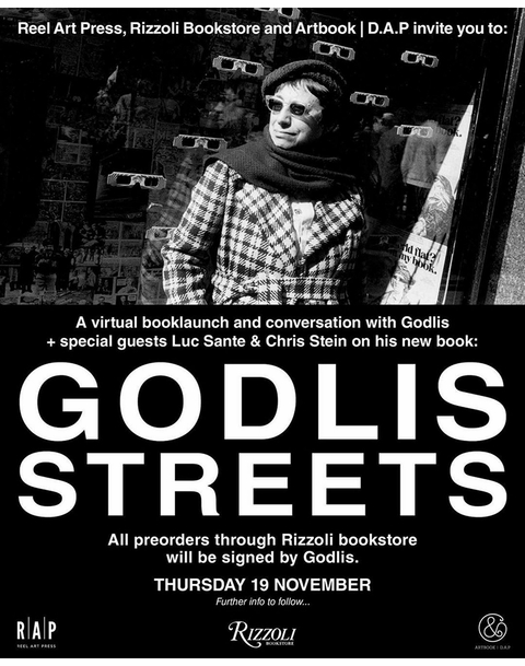 Rizzoli Bookstore presents David Godlis, Luc Sante and Chris Stein in conversation for the virtual launch of 'Godlis Streets'