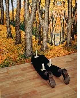"""""""Untitled"""" (1991) with """"Forest"""" (1991) in background are reproduced from <I>Robert Gober: The Heart Is Not a Metaphor</I>."""