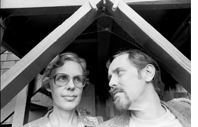 Featured photograph is of artist and filmmaker Bruce Conner with his wife, the artist Jean Conner, under a cobweb in their yard, 1979.