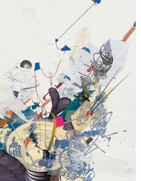 """Featured image, reproduced from <a href=""""9780878481132.html"""">Infinite Line</a>, Asia Society Museum's new monograph on Sarah Sze, is the 2009 collage work """"Guggenheim as a Ruin."""" In a conversation with Asia Society Museum Director Melissa Chiu, published in the book, Sze comments, """"For me the entire experience of viewing a work is always based on a kind of circulation or choreography through the space. This is something that I think comes from an architectural way of seeing. There's a consideration of how the viewer will see it at every point - even what ones sees peripherally when looking at other things. If I'm in a group show I always want to find out how you enter, what you will see first, what leads up to  your experience of the work, and then what you will see last. The viewer's perspective and how information is revealed to viewers as they  move through time and space are for me actually what the experience of the work is always about."""""""