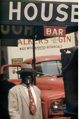 """""""Harlem"""" (1960) is reproduced from 'Saul Leiter: Early Color.'"""